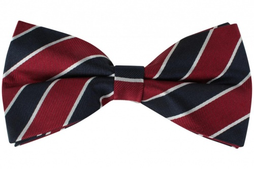 Red Navy and White Striped Pre-Tied Silk Bow Tie